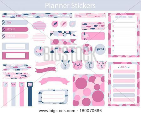 Collection of planner stickers with cute cats fish and fish skeletons In simple kids cartoon style. Weekly Planner pages.