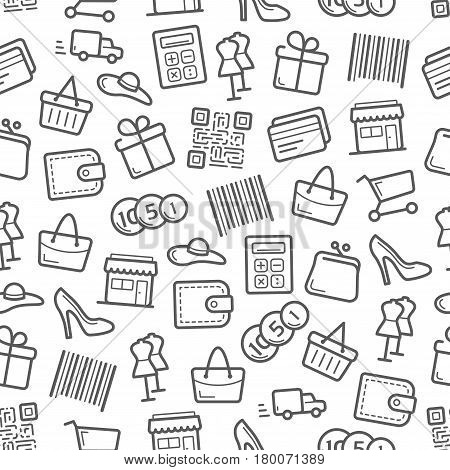 Sale and shopping seamless pattern background. Basket, gift box, money, clothes and bag, shoes and retail store, credit card, calculator and wallet, coin, trolley, barcode, delivery truck and qr code