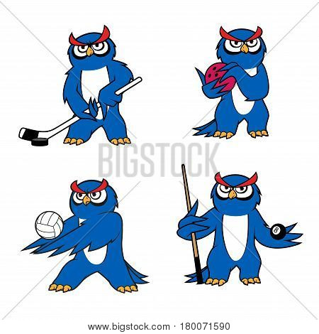 Owl mascot for volleyball, hockey, bowling and billiard sport. Blue owl players with balls, cue stick, ice hockey puck and stick. Sport club and team or sporting competition mascot design