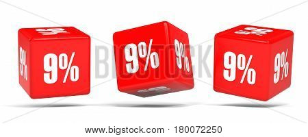 Nine Percent Off. Discount 9 %. Red Cubes.