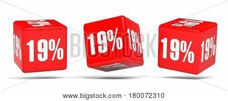 Nineteen Percent Off. Discount 19 %. Red Cubes.
