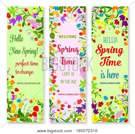 Hello Spring greetings with flowers. Vector banners with welcome spring quotes and floral design. Springtime blooming flowers bouquets of poppy and tulip blooms and daisy blossoms with garden berries