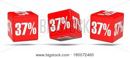 Thirty Seven Percent Off. Discount 37 %. Red Cubes.