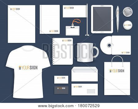 Corporate identity template. Business company set of branded office stationery and page layouts. Envelope, folder, cd cover, booklet, notebook, badge, tablet pc, pen, cup and t-shirt with brand label