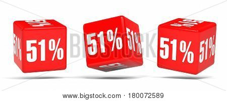 Fifty One Percent Off. Discount 51 %. Red Cubes.
