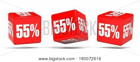 Fifty Five Percent Off. Discount 55 %. Red Cubes.