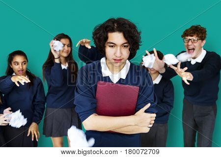 Group of Diverse Students Bullying Studio Portrait