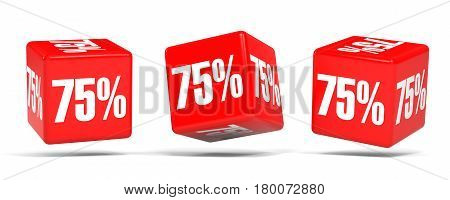 Seventy Five Percent Off. Discount 75 %. Red Cubes.