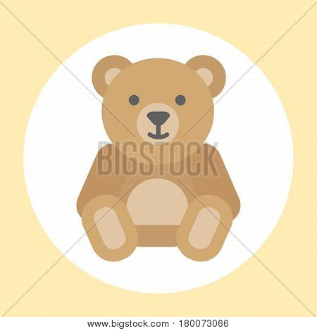 Gift toy teddy bear isolated. Valentine Gift symbol bear. Gift brown bear toy vector icon. Cute cartoon bear gift with love