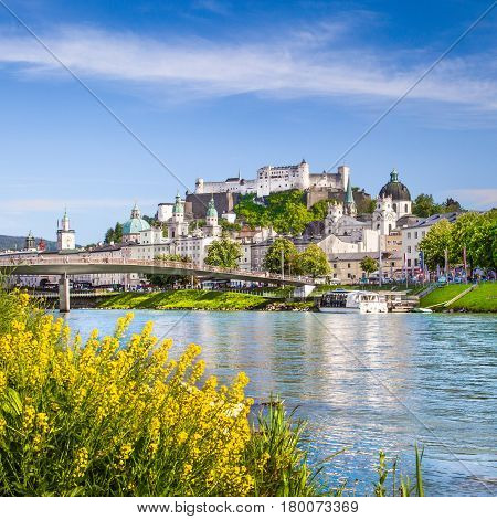Beautiful View Of Salzburg Skyline With Festung Hohensalzburg And Salzach River In Summer, Salzburg,