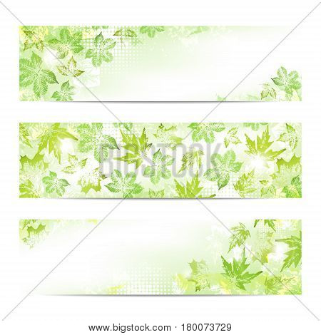 Abstract spring leaves imprints banners background with space to your text
