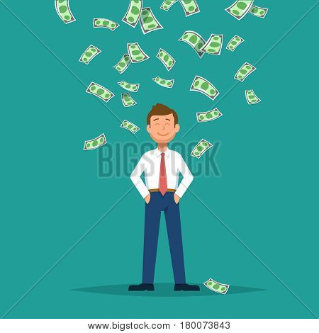 Vector illustration of happy businessman celebrates success standing under money rain banknotes cash falling on blue background. Concept of success achievement wealth flat style