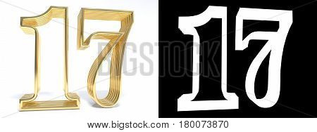 Golden number seventeen on white background with drop shadow and alpha channel. 3D illustration