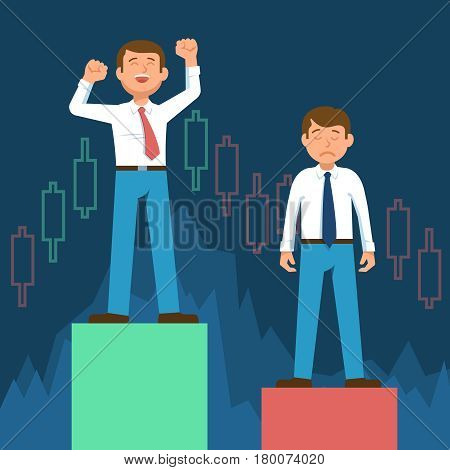 Happy stock broker trader and frustrated upset stock trader standing on stock market graph diagram information on background blue computer screen. Vector illustration success stock market flat design