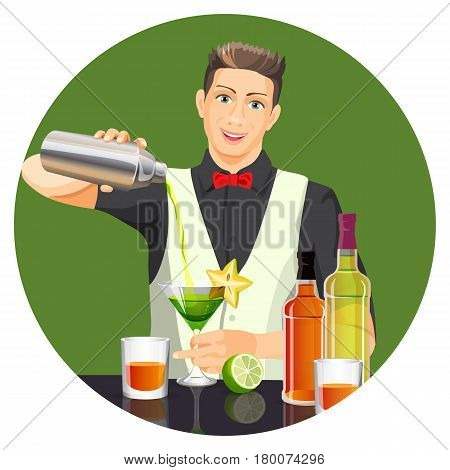 Male bartender making cocktail by pouring liquid from silver bottle in glass with green drink. Vector flat realistic picture with green background of party beverage concept with traditional elements