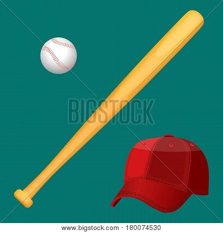 Isolated red baseball cap, wooden special bat and small white ball in realistic style on green background. Sport template with accessories poster. Baseball equipment colorful vector flat collection.