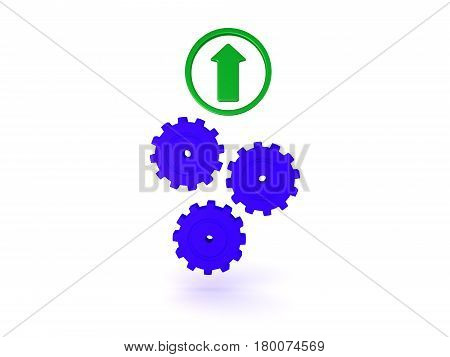 3D Illustration with three gears turning with green up arrow above them. The image signifying progress.