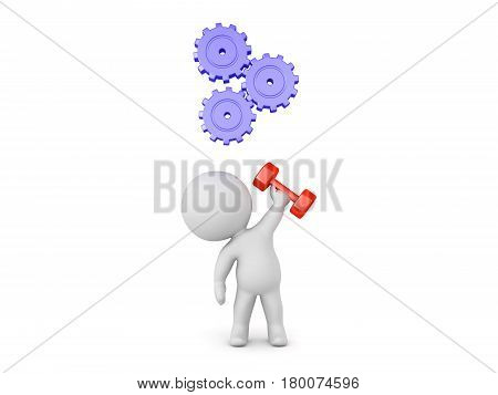 Character lifting dumbbell in one hand with gears turning above his head. Image depicting the progess of working out.