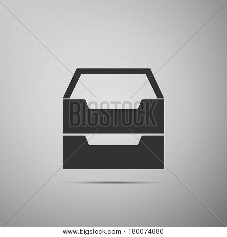 Document inbox flat icon on grey background. Vector Illustration