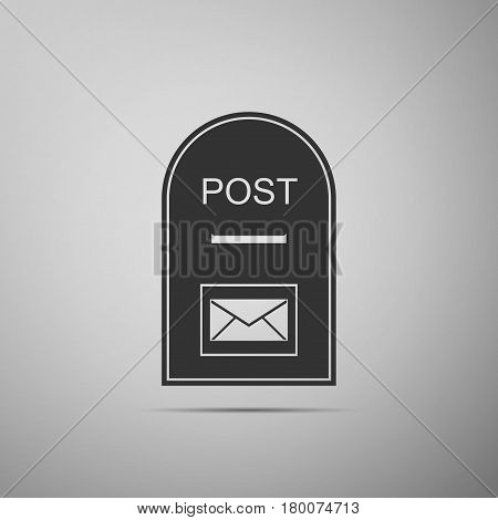Mail box icon. Post box flat icon on grey background. Vector Illustration