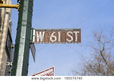 New York City, USA, December 31, 2016: West 61st street sign, New York, USA