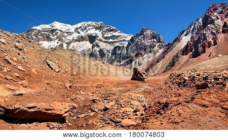 Mountain Panorama Of Aconcagua, The Highest Mountain In South America, As Seen From South Side, Mend