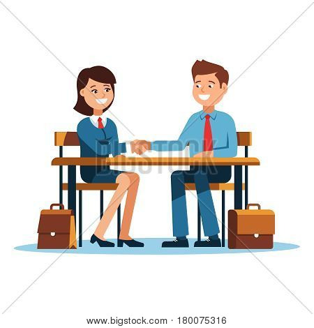 The meeting of two businessmen and businesswoman business handshake. A young man and woman in a business suit holds out his hand in greeting to the partner sitting at the office desk .