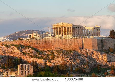 Famous skyline of Athens with Acropolis hill and Pathenon, Athens Greece