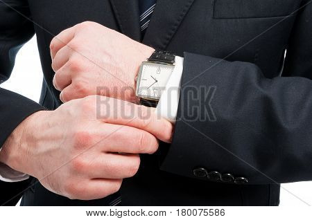 Close-up Of Elegant Gentleman Arranging His Sleeve