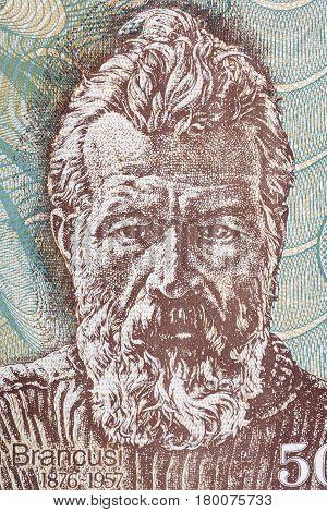 Constantin Brancusi portrait from Romanian money - Lei