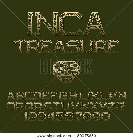 Golden patterned angular letters and numbers. Decorative elegant font. Isolated english alphabet with text Inca Treasure.