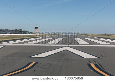 Airport runway with marking in sunny day Florida