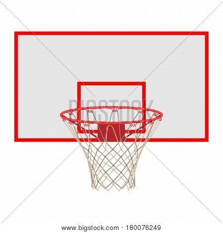 Basketball hoop on backboard isolated on white background. Net with round circle, equipment of sport gym. Sportive basket with ring vector illustration in flat style