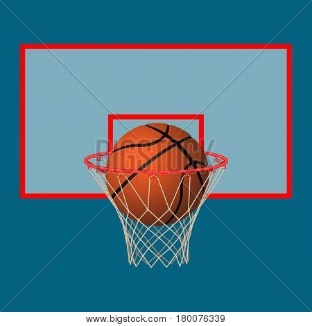 Ball in basketball hoop on backboard. Realistic leather playing object in basket. Vector illustration of goal. Healthy and sporty lifestyle template icon. Team sport game symbol
