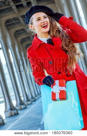 Traveller Woman With Shopping Bag And Christmas Present Box