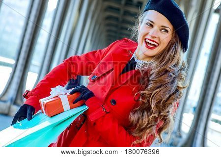 Tourist Woman With Shopping Bag And Christmas Present Box