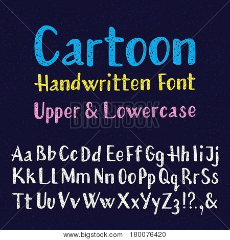 Cartoon handwritten font. Uppercase and lowercase letters. Isolated english alphabet of grainy texture.