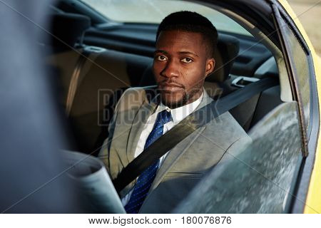 Portrait of confident African -American businessman riding in backseat of car  looking at camera out of window lit by sunlight, while reading newspaper