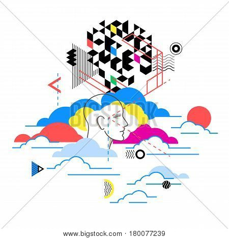 Cloud Computing Services, Technology Metaphor. Web Design, Marketing Illustration Concept.  Abstract