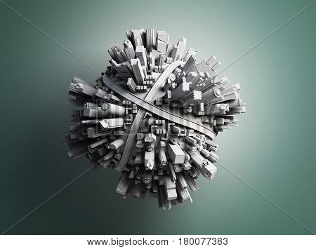Megalopolis Aerial View 3D Render Image On Grey