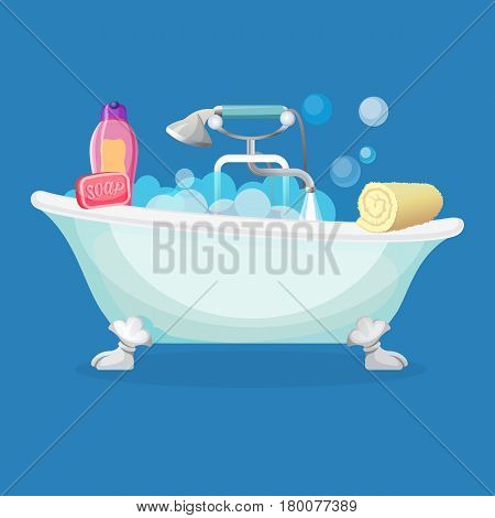 Bathtub isolated full of foam with bubbles, common and shower taps, pink soap, bottle of shampoo and rolled towel. Vector flat illustration of comfortable equipment for bathing and relaxing