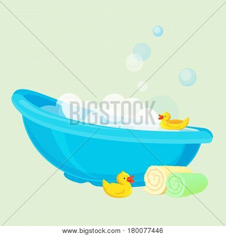 Blue bathtub for child full of bubbles and with yellow duck toys, beige and green rolled towels. Vector illustration in flat design of cleaning template with special equipment in bowl shape.
