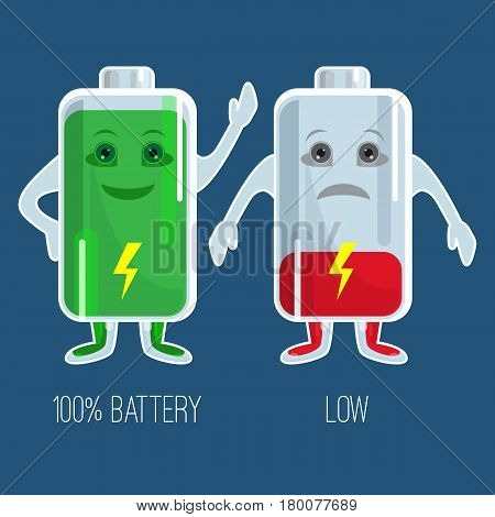 Cute full and low charged batteries with hands and face in flat design. Vector colorful picture of two happy green and red sad accumulators with indicators and inscriptions below on dark blue