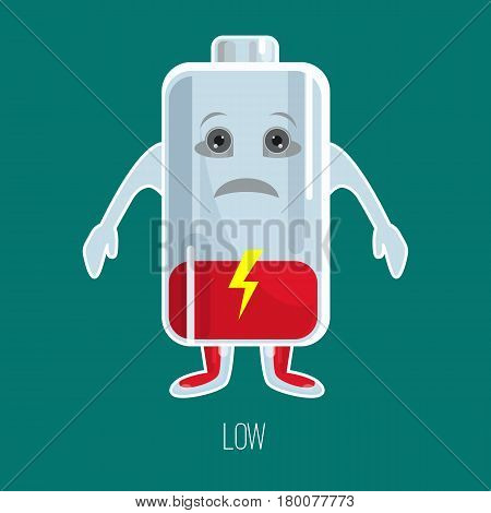 Low charged battery cartoon character with hands and face in flat design isolated on green background. Vector colorful picture of unhappy red accumulator with indicator and inscriptions below.