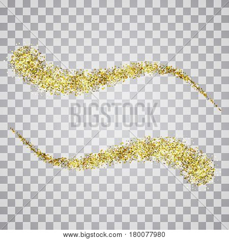 Vector pattern gold glitter waves abstract background.Design element with gold glitter on a transparent background.