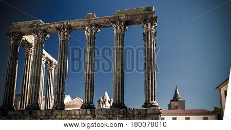Ruins of Roman temple of Diana in Evora Portugal