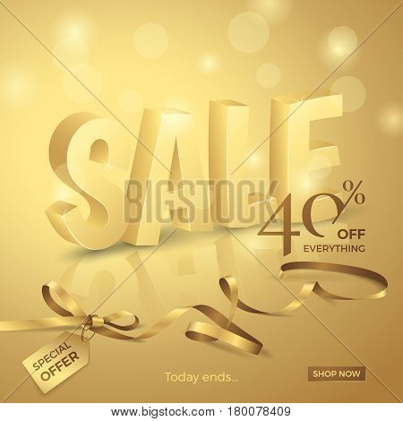 Vector luxury sale banner with 3d text, ribbon, small bow and tag. Gold background with lights for design promotional flyers with discounts offers.