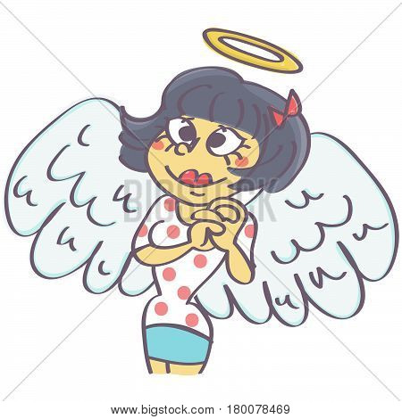 Funny vector cartoon of cute girl with angel wings and aureole above her head