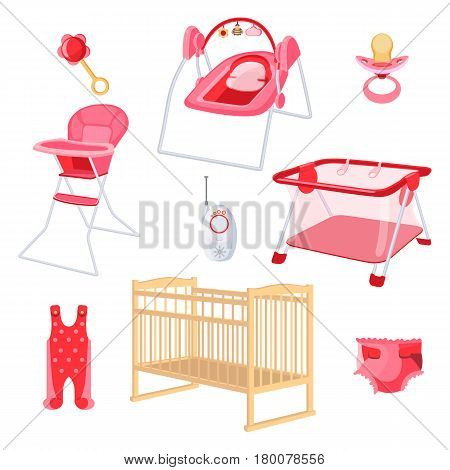 Bedroom furniture for newborn girl on white background. Vector illustration of latex teat, radio nanny, play arena, chair for babies, ringing rattle, disposable diaper, pink sliders and beige crib.