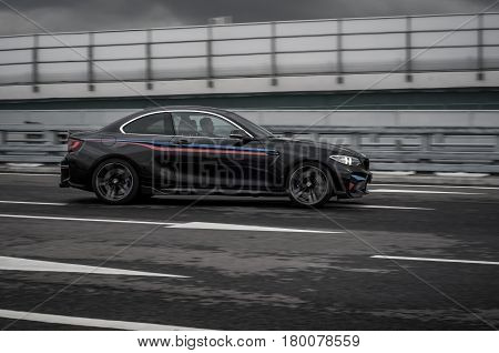 Russia, Moscow - September 24, 2016. Bmw M2 Sports Car With Performance Pack, Front-side View